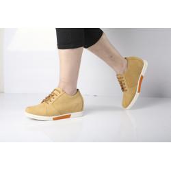 Scarpe con rialzo pelle gialla casual