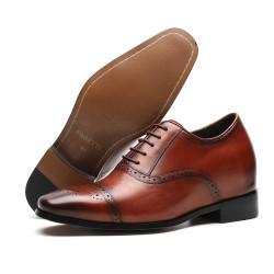 Scarpe rialzate eleganti uomo marroni 8 cm
