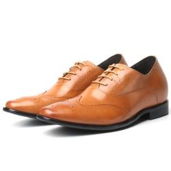 Scarpe con rialzo eleganti marrone chiaro 7,5 cm