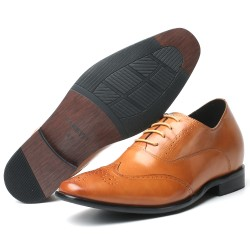Scarpe eleganti marrone chiaro rialzate 7,5 cm