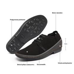 Scarpe rialzate scamosciate nere uomo 6 cm